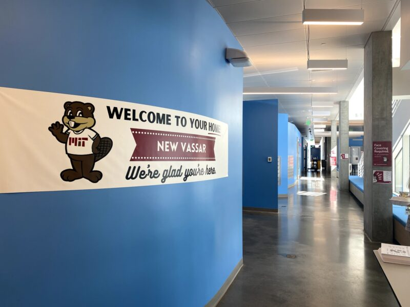 hallway with welcome banner