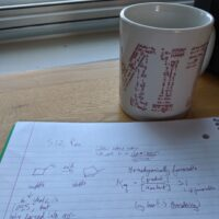 spiral notebook and coffee cup