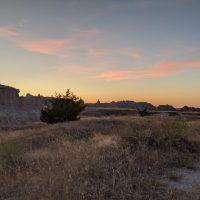sunset over plains at badlands national park