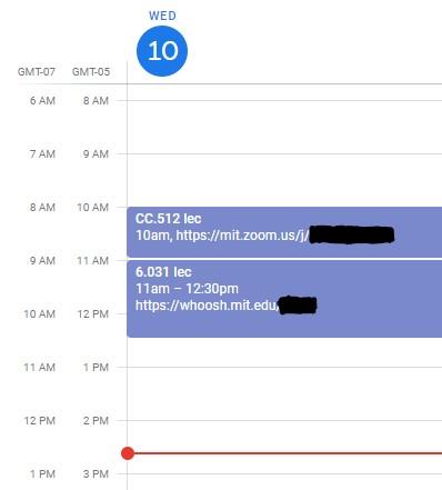 screenshot of google calendar from today