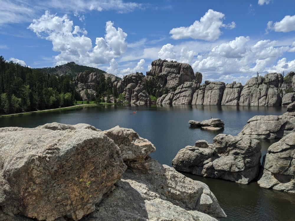 picture of lakes from a rocky outcrop