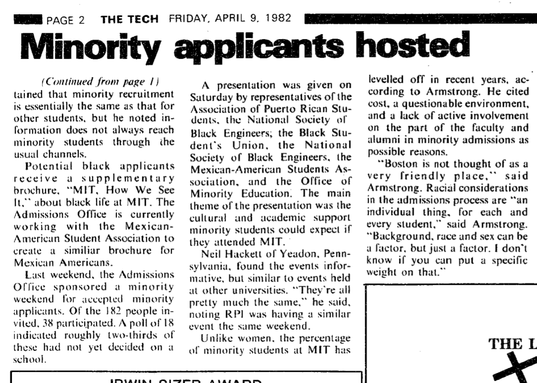 """text, newspaper article, """"minority applicants hosted"""""""