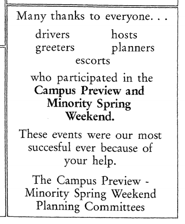 """text of an ad: """"many thanks to everyone... who participated in the campus preview and minority spring weekend."""""""