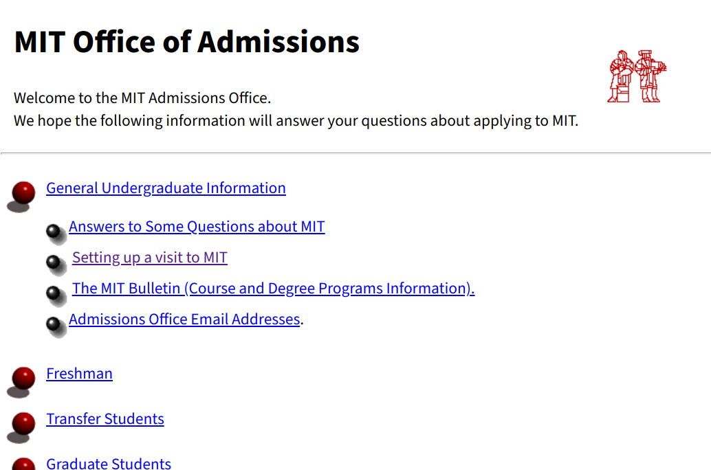 screenshot of admissions office website