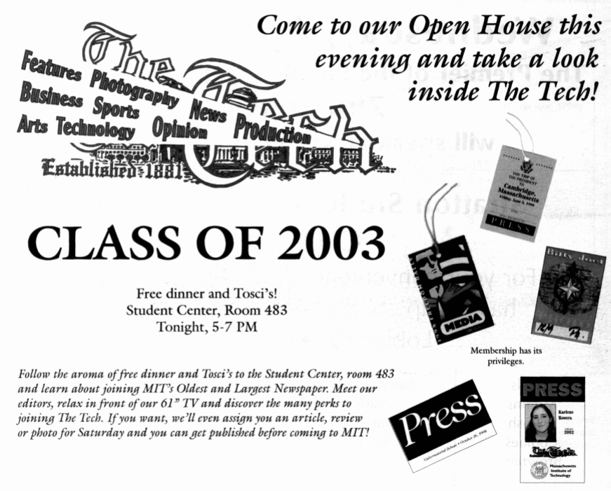 """ad for the tech, aimed at the class of 2003, advertising """"free dinner"""" and a """"61 inch tv"""""""