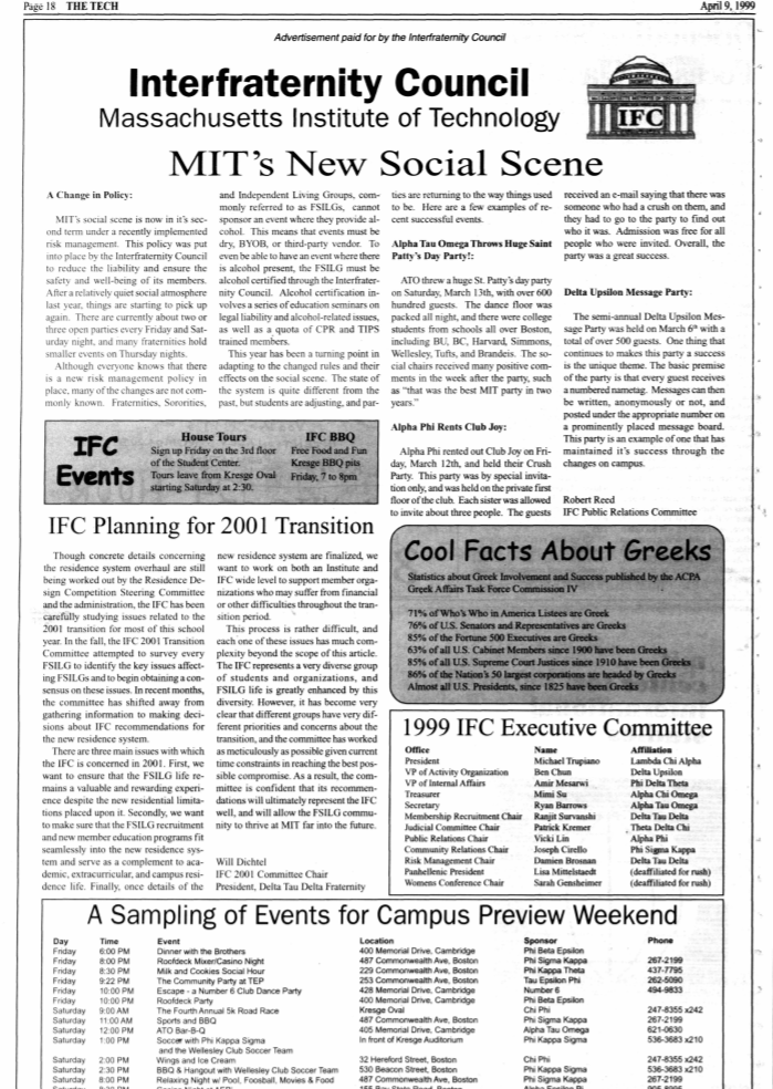 """full-page ad from """"interfraternity council"""""""