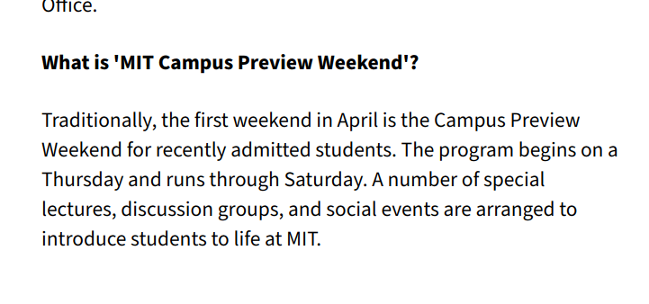 """screenshot of an faq """"what is mit campus preview weekend?"""""""