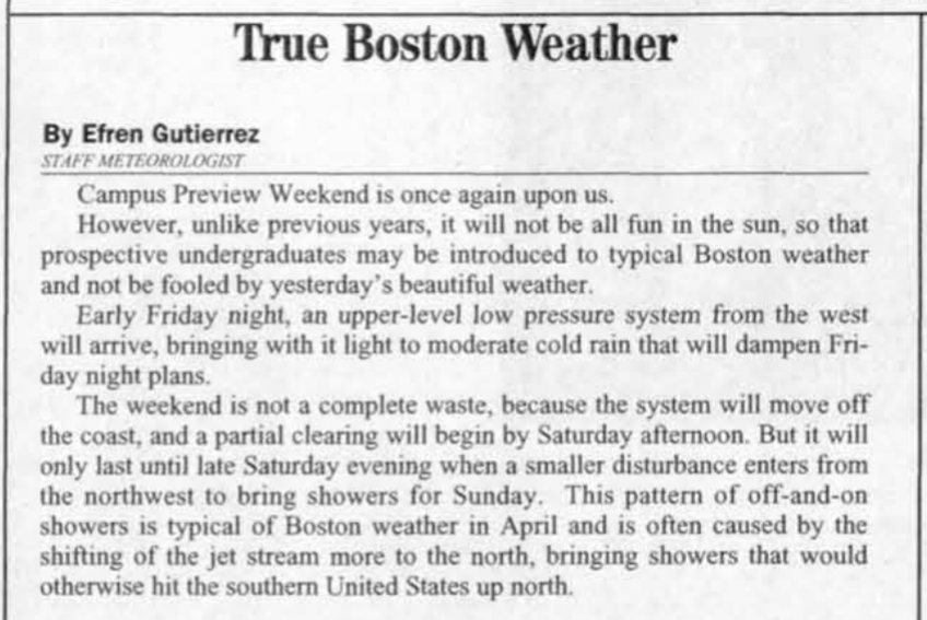 """text, a column called """"true boston weather"""""""
