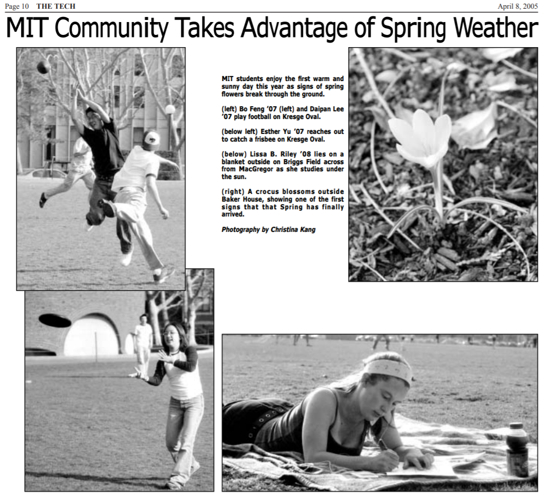 screenshot of the tech, various pictures of students enjoying spring weather