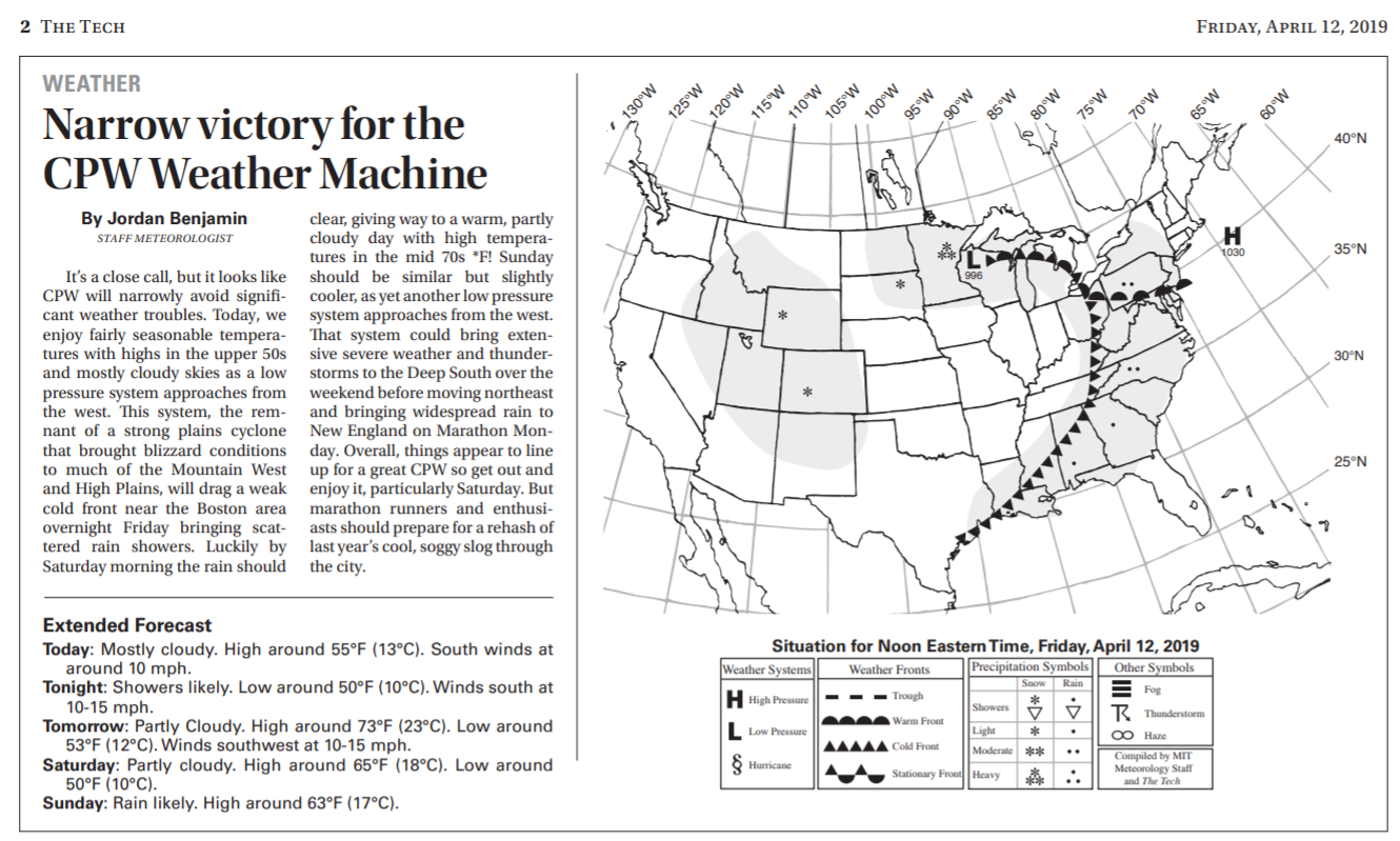 """text, weather forecast with title """"narrow victory for the cpw weather machine"""""""