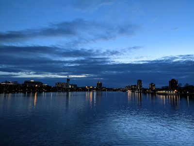 picture of Charles River and Boston skyline.