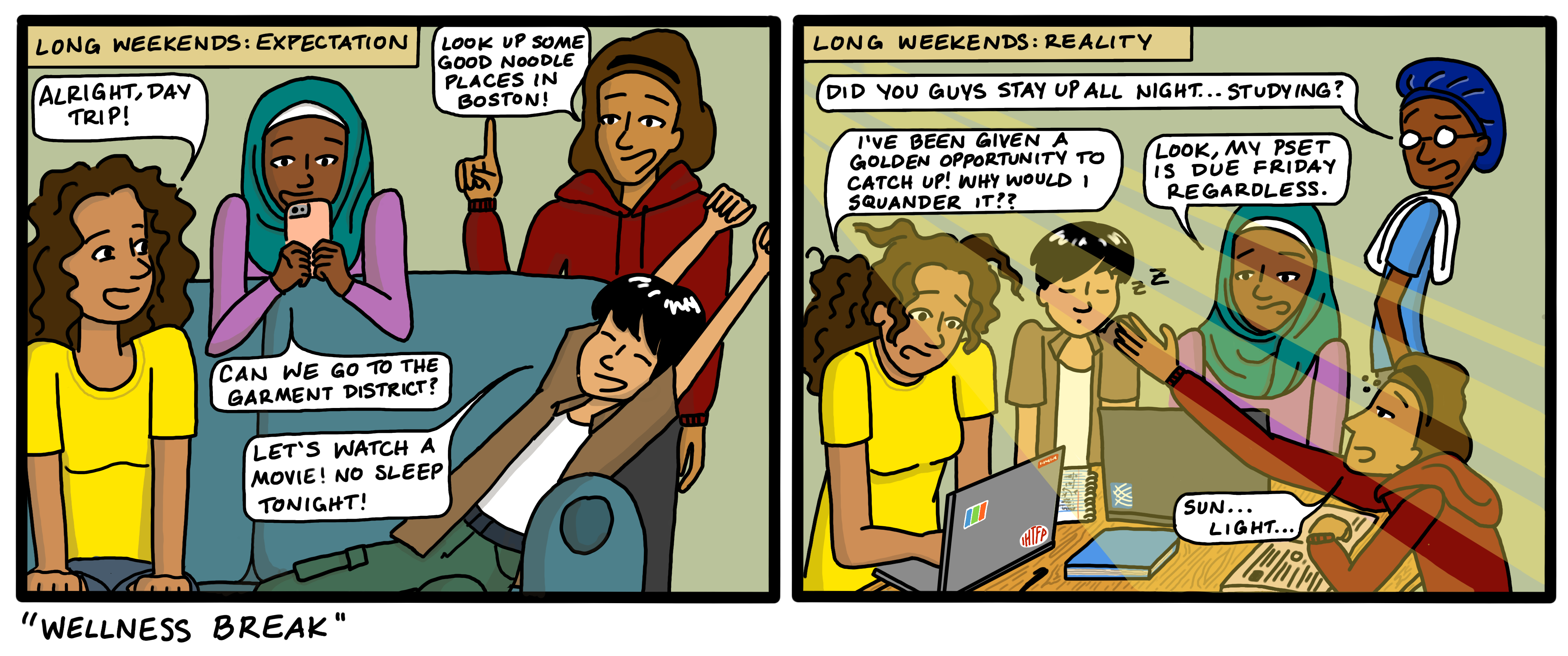 wellness break cartoon with students talking about how they're burned out