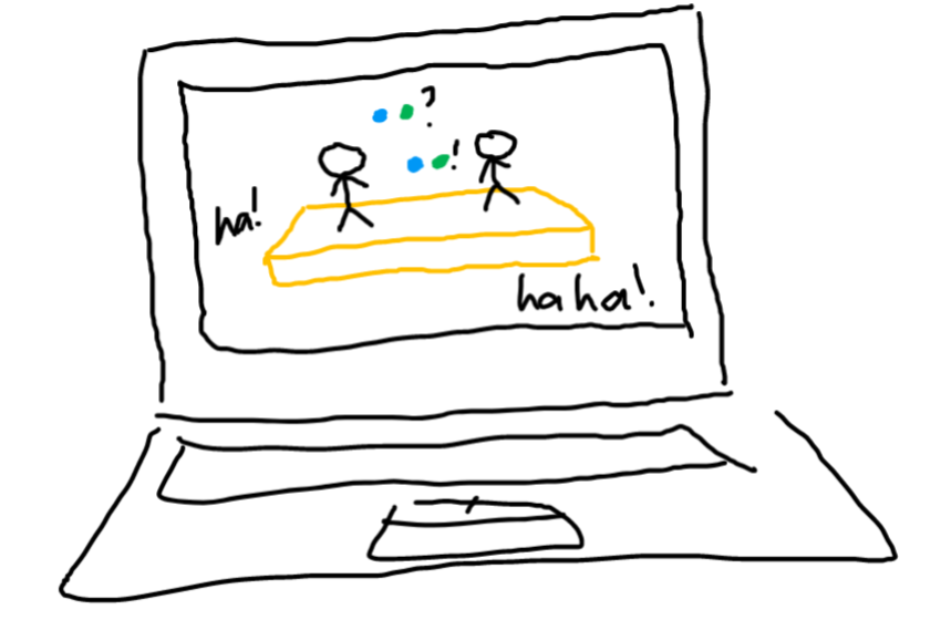 drawing of a laptop. in the monitor, there's a stage, two people talking in colored circles, and laughs from the audience