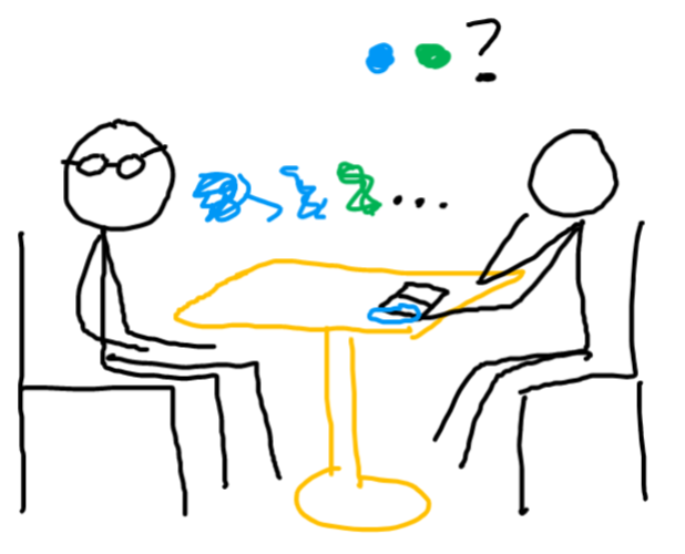 across a table, there's someone with glasses and someone taking notes. the person taking notes asks a question with colored circles. the person with glasses answers with blurry colored circles.