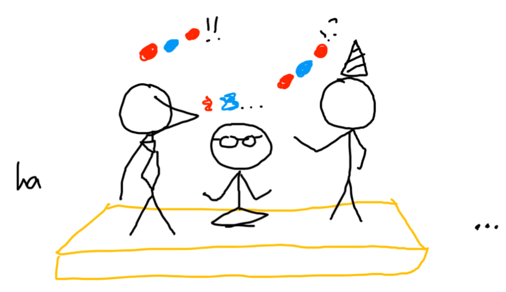 three people on a stage. one has a tie, one has glasses, one has a party hat. they talk in colored circles. there's a few laughs from the audience.
