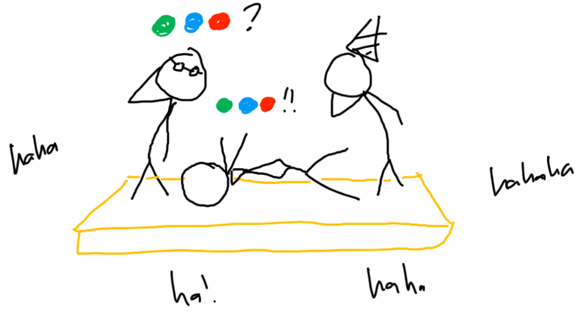same three people from previous, talking in colored circles. more laughs from the audience.