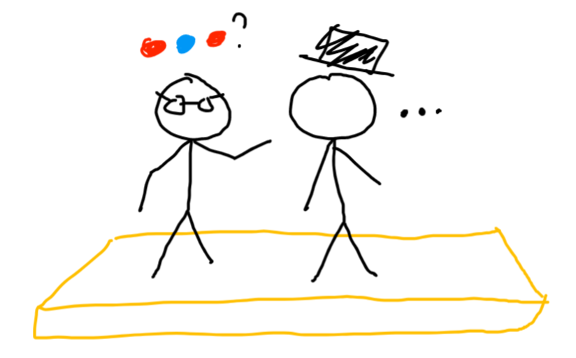 two people on a stage, one has glasses, one has a top hat. the one with glasses asks a question with colored circles.