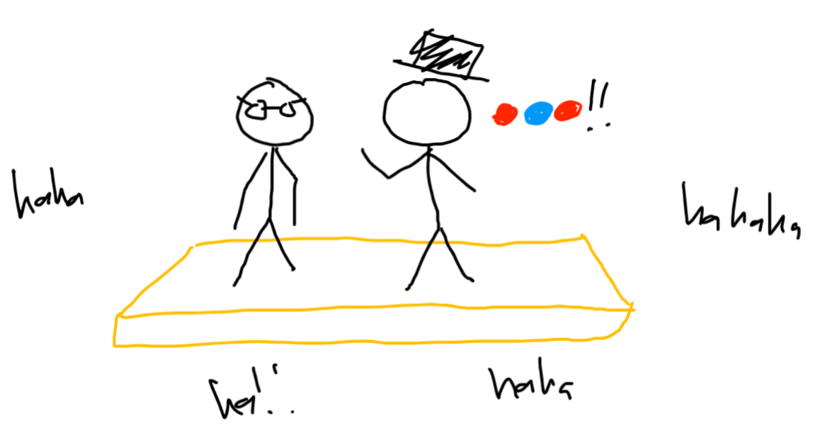 same scene. the person with a top hat responds in colored circles. lots of laughs from the audience.