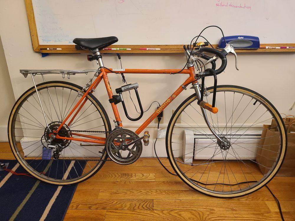 an orange bike!