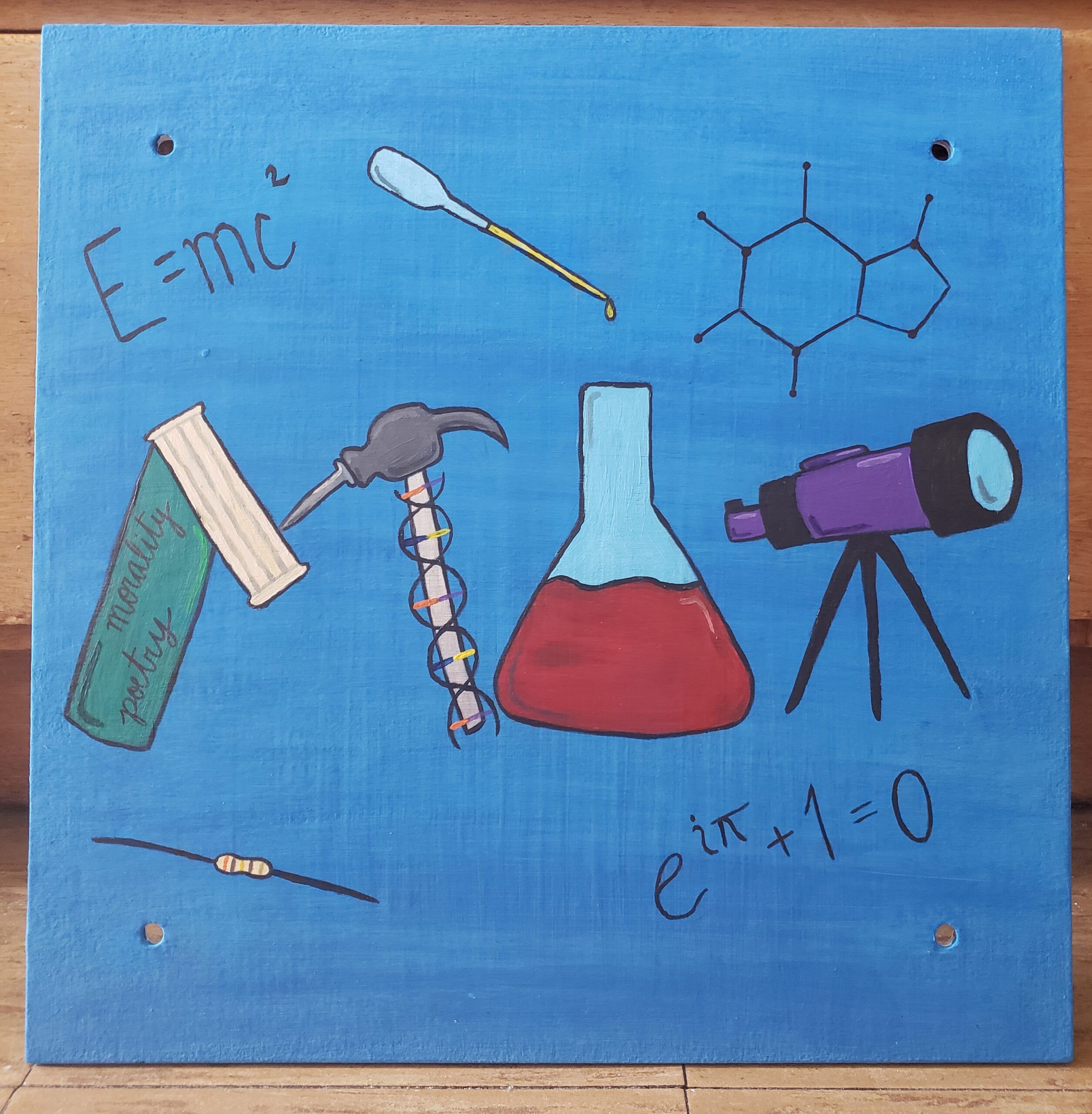 painting of scientific instruments on a blue background