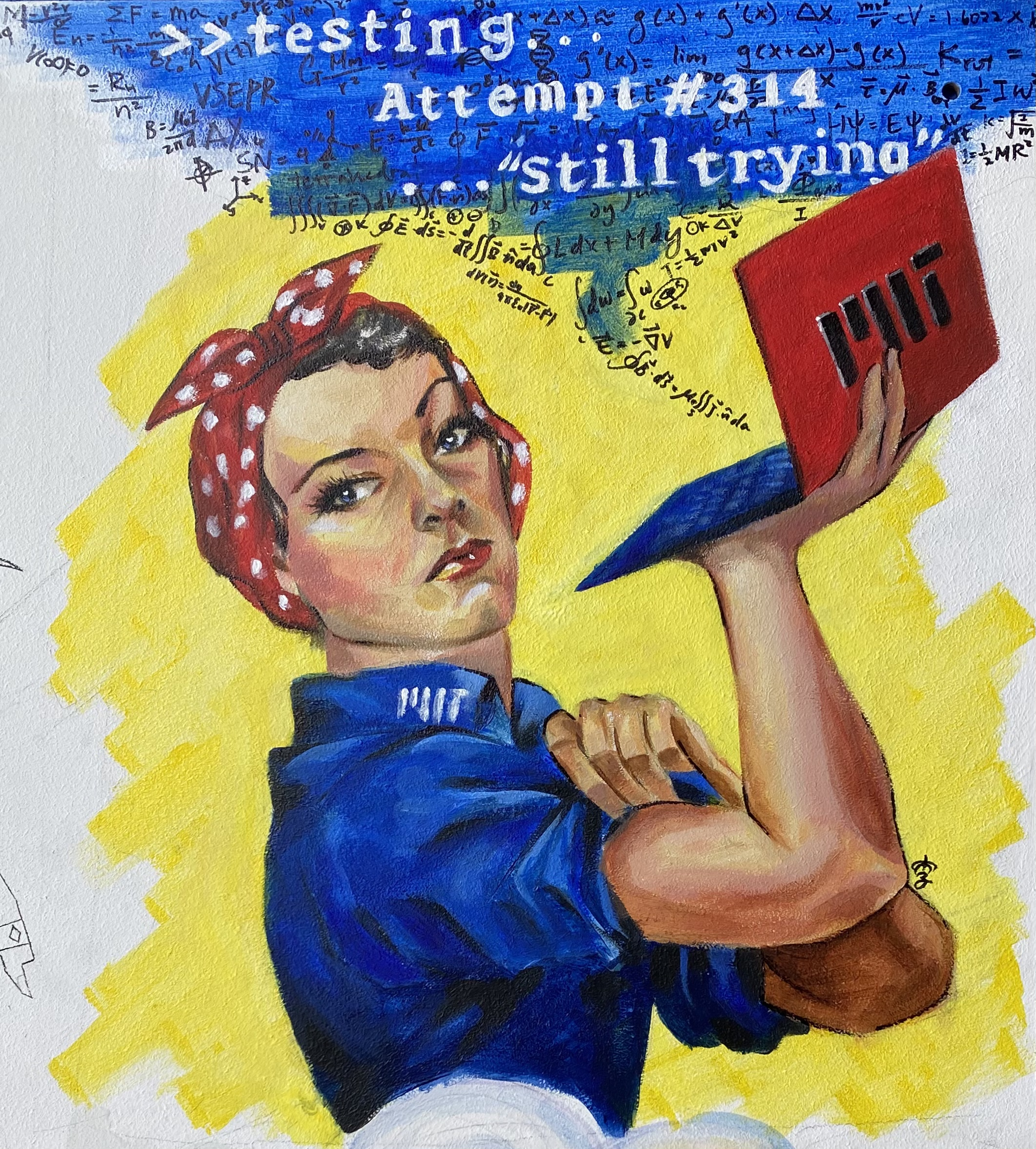 painting of a parody of rosie the riveter