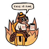 drawing of a beaver in flames with the words