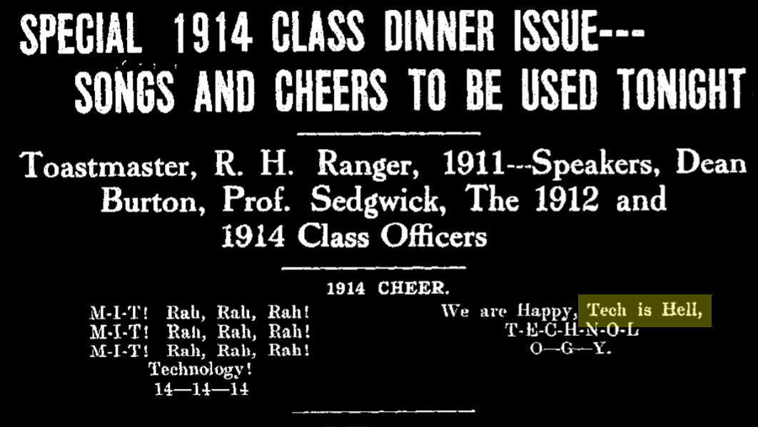 """article describing the 1914 cheer, with the line """"we are happy, tech is hell""""."""