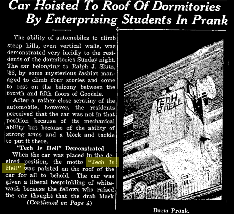 """headline """"Car Hoisted To Roof of Dormitories By Enterprising Student In Prank"""". there is a picture of the car. """"Tech is Hell"""" is painted on its roof."""