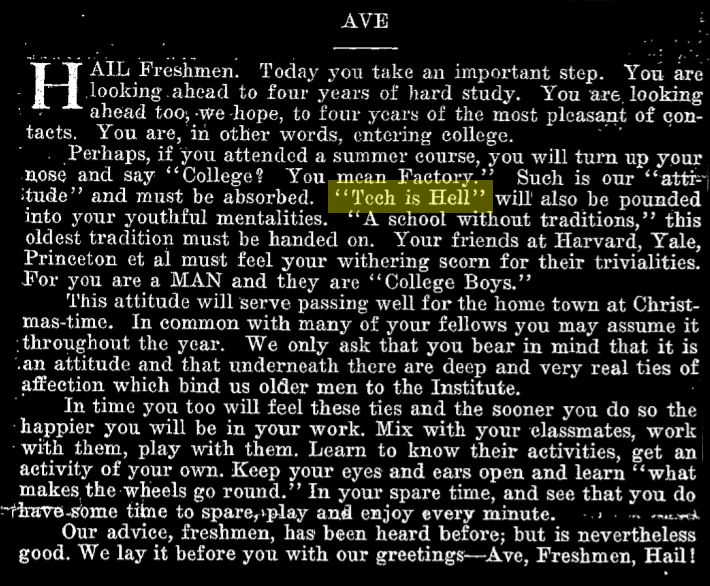 """an editorial published in the tech welcoming freshmen to the institute. highlighted in a yellow box is """"tech is hell""""."""