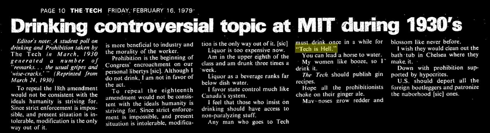 """article titled """"Drinking controversial topic at MIT during 1930s"""", reprinted from the 1930s. """"Any man who goes to Tech must drink once in a while for Tech is Hell."""""""
