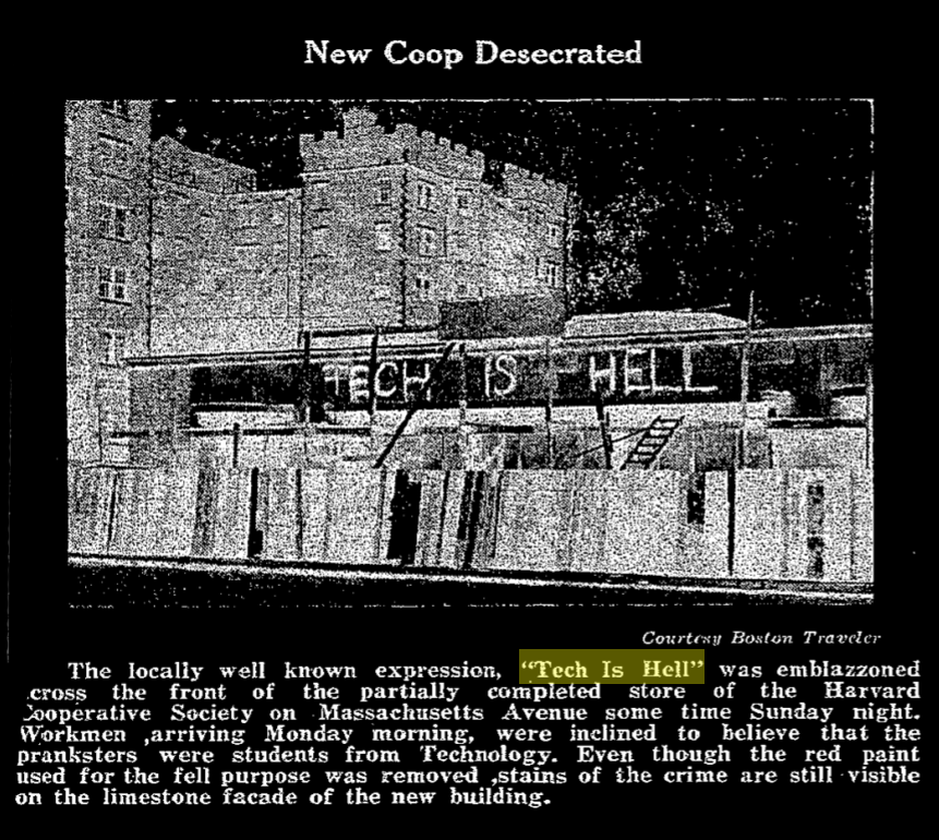 """""""New Coop Desecrated"""". picture of the coop with TECH IS HELL painted on top."""