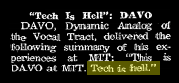 """a paragraph from the tech, quoting an alumni saying """"tech is hell"""", highlighted in yellow"""