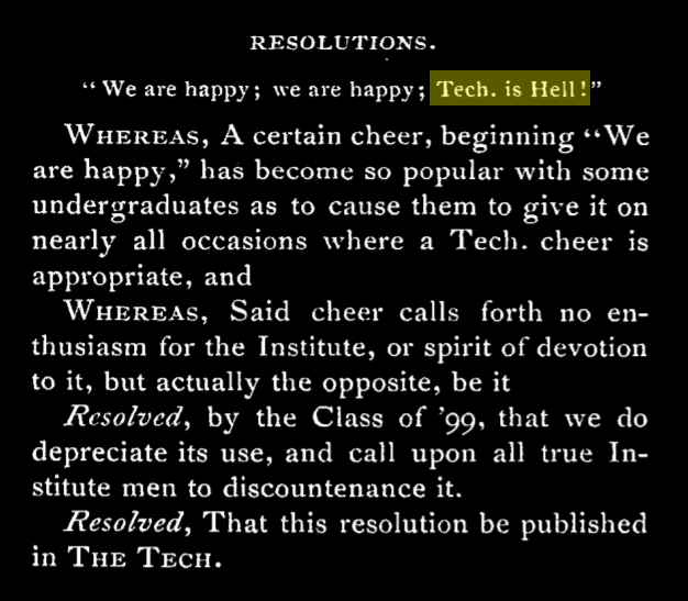 """a resolution published in the text discouraging the use of the cheer """"tech is hell"""""""