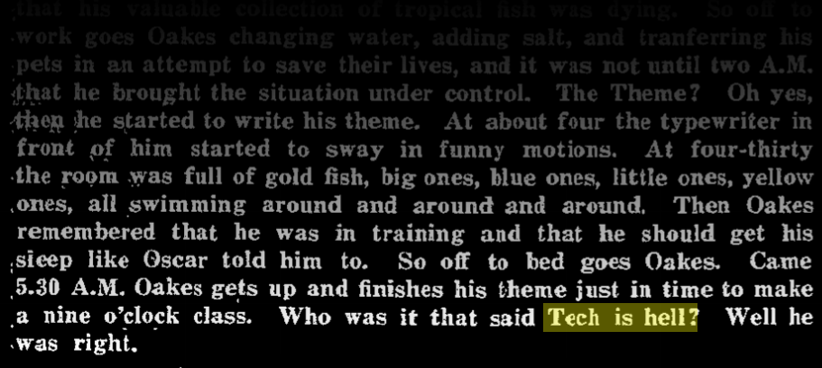 """newspaper clipping fading in from top. """"Who was it that said Tech is hell? Well he was right."""" the phrase """"Tech is hell"""" is highlighted with a yellow box."""