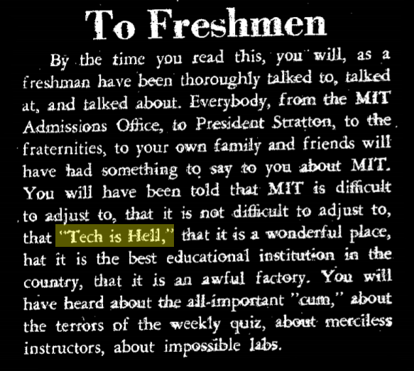 """""""to freshmen"""", an editorial in the tech, with """"tech is hell"""" highlighted in yellow"""
