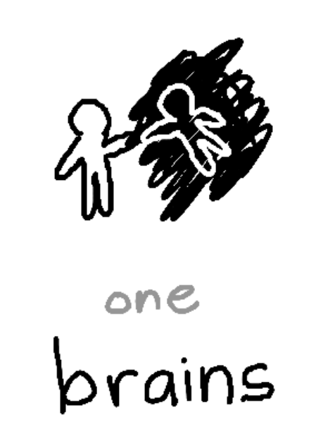 """a person touching the hand of another person who is suspended in a black background. beneath, the text """"one: brains""""."""