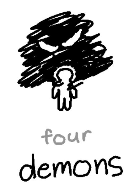 """a shadow with eyes grasping the shoulders of a person. beneath, the text """"four: demons"""""""