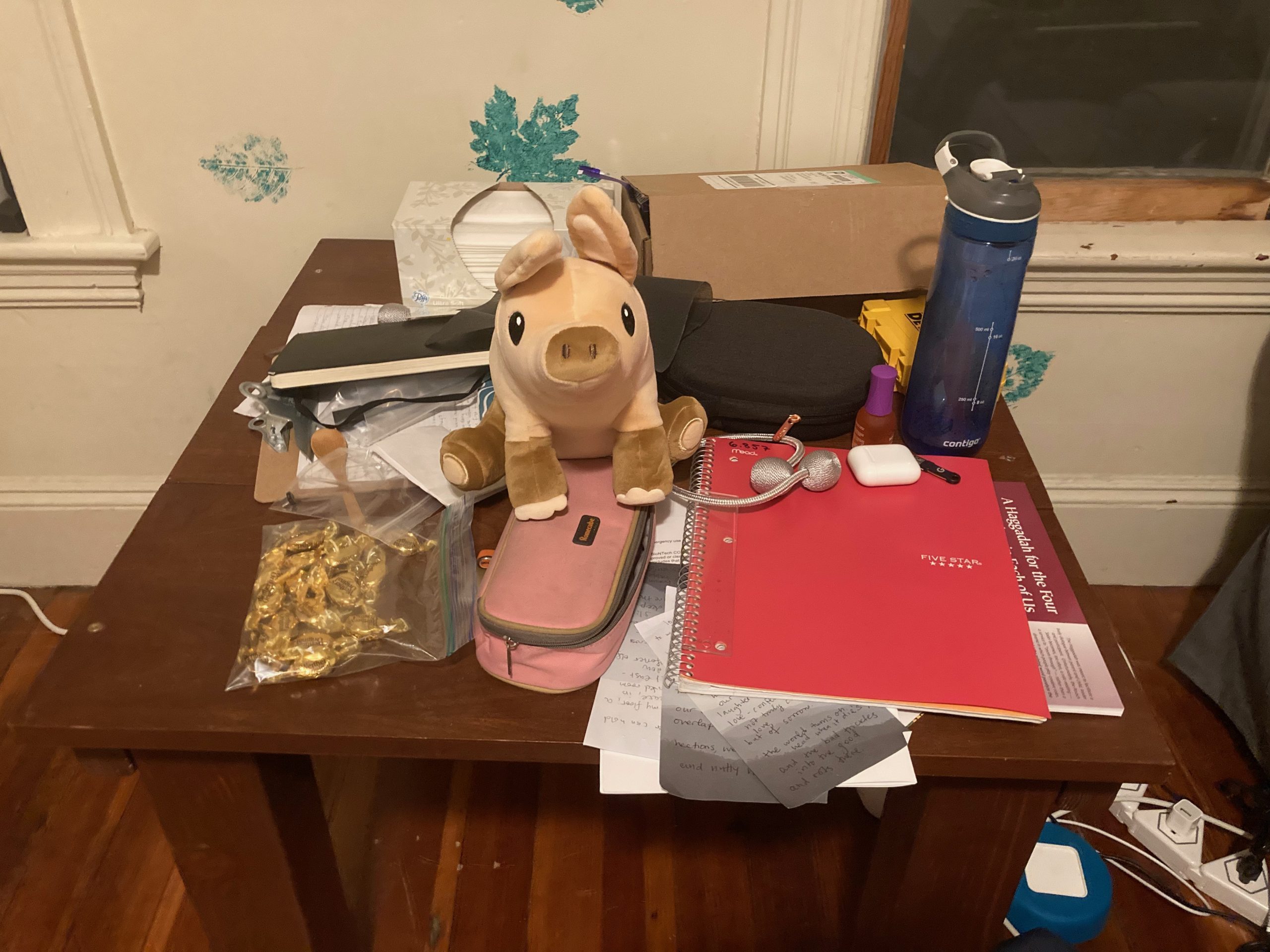 My coffee table absolutely covered in random stuff.