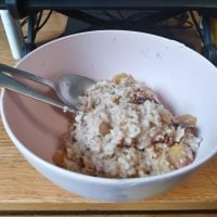 bananas and peaches and oatmeal in a bowl
