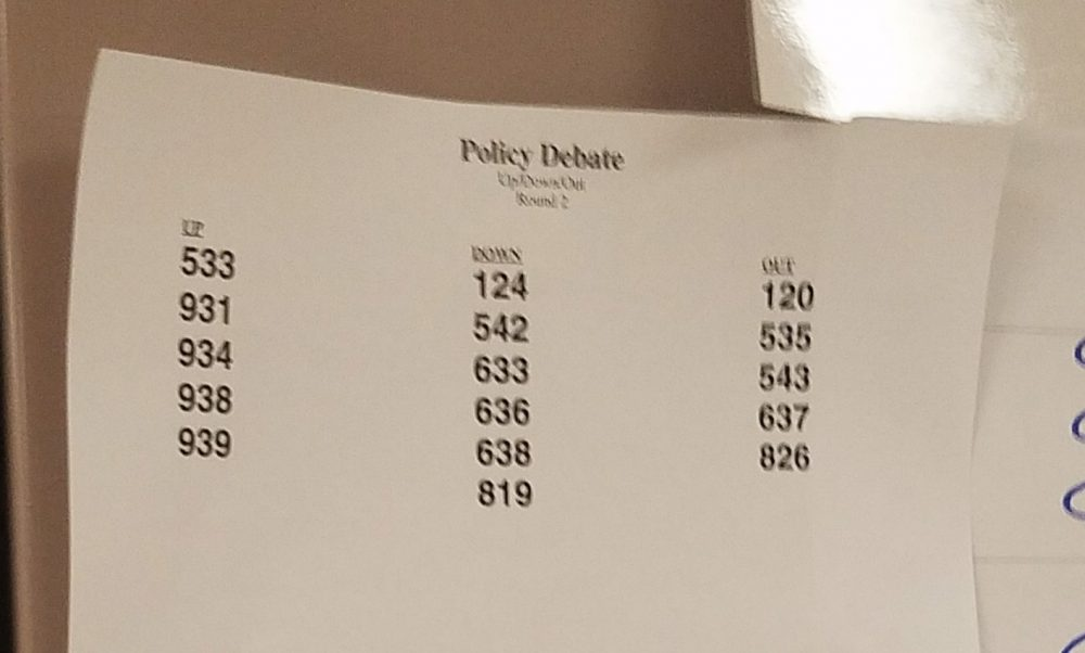 blurry sheet with columns labeled up, down, out with numbers underneath