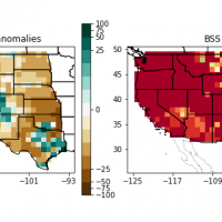 two differently colored maps of the western US side by side
