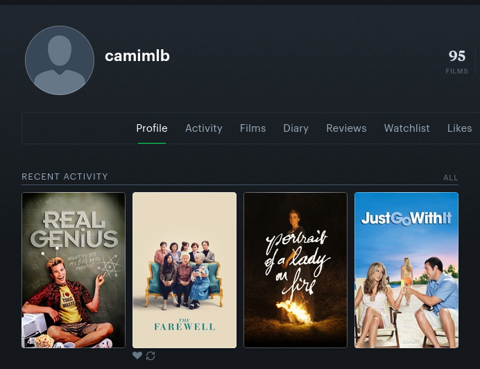 screenshot of my letterboxd and recent movies i've watched (real genius, just go with it, portrait of a lady on fire, the farewell)