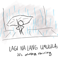 a stick figure standing with an umbrella in the rain