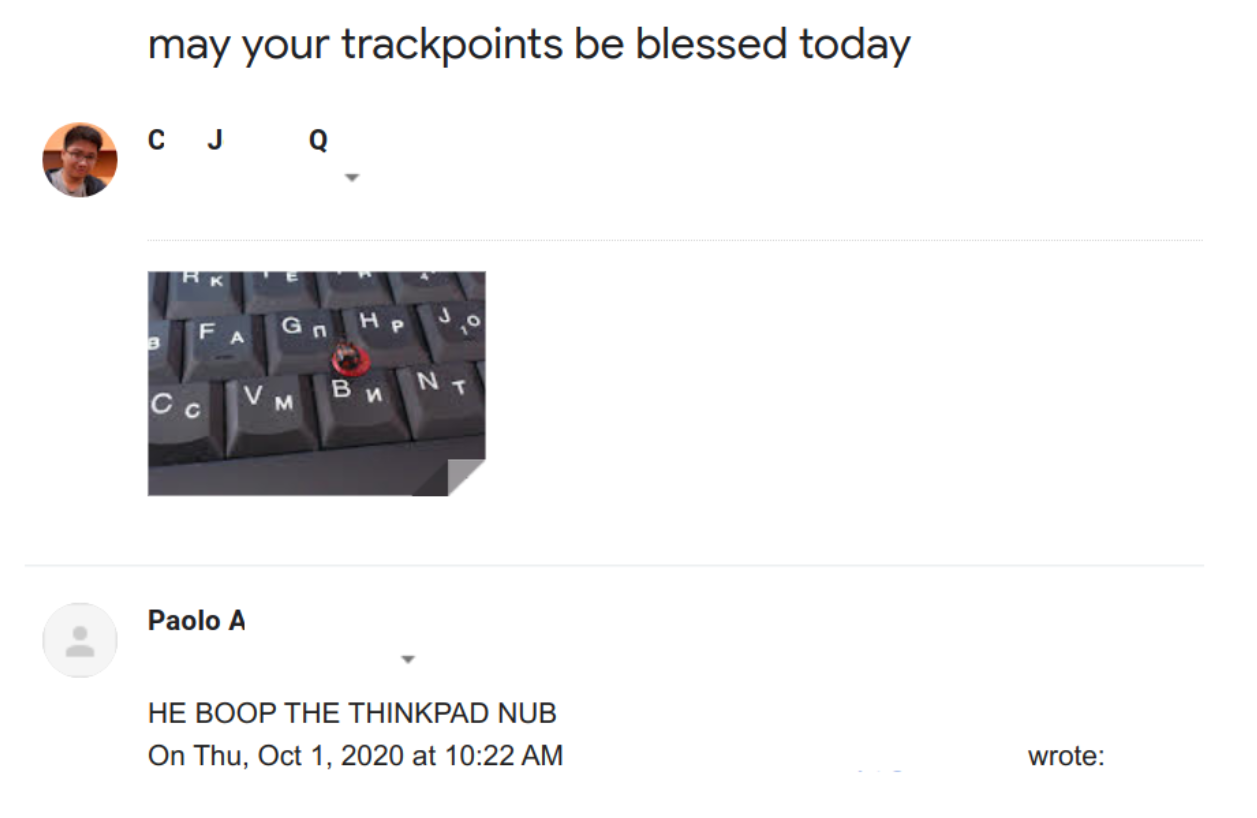 """an email thread with """"may your trackpads be blessed today"""" with a picture of a ladybug on a thinkpad"""