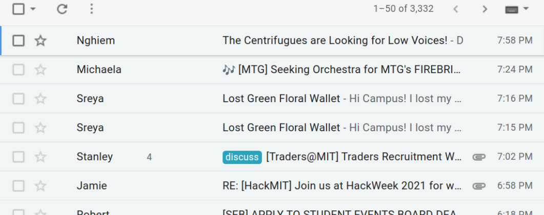 the dormspam label on my inbox, with over 3000 emails