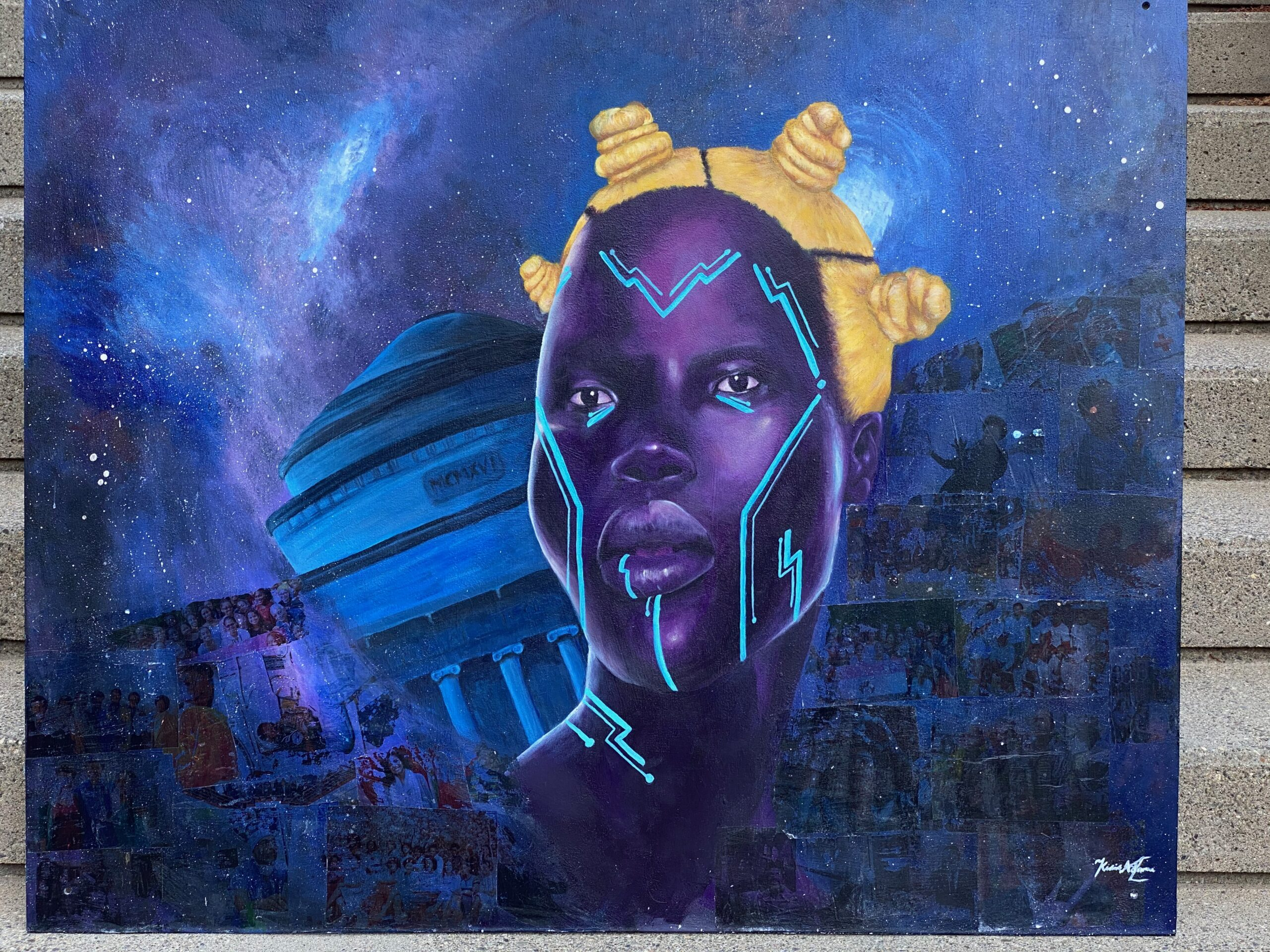 a picture of a mural of a Black woman