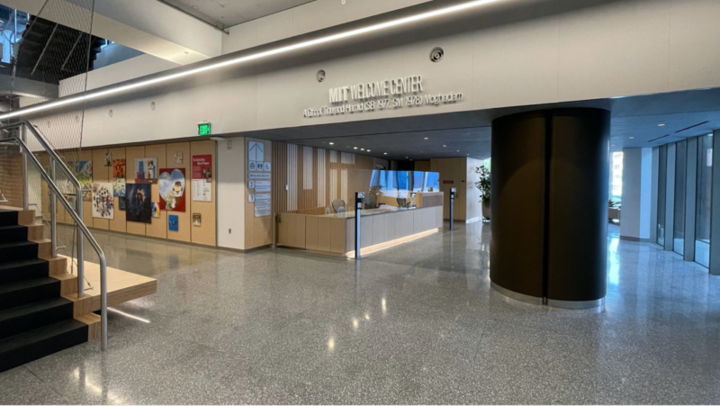 a photo of the new welcome center front desk