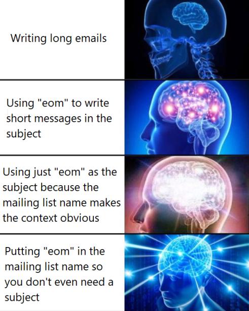 "expanding brain meme about ""eom"""