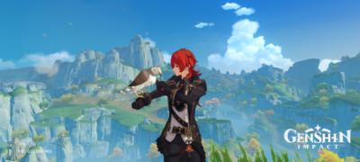 A screenshot of Diluc petting his bird in Genshin