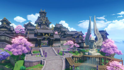 A landscape shot of the government center in Inazuma City in Genshin Impact